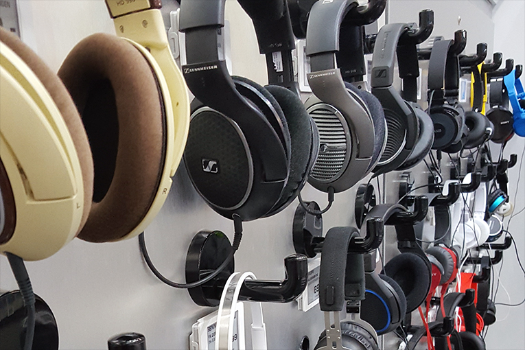 Many, many headphones